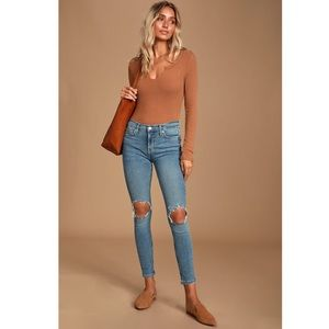 Free People High Rise Distressed Skinny Jeans